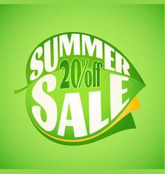 Summer sale lettering design template on leaf vector