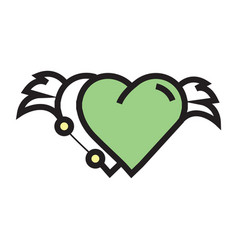 Two hearts wings pen tool design green vector