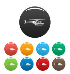 Utility helicopter icons set color vector