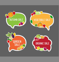 Vegetable autumn sale in bubble speech vector