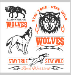 Vintage wolf motorcycle label vector