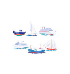 water transport set yacht boat cargo ship vector image