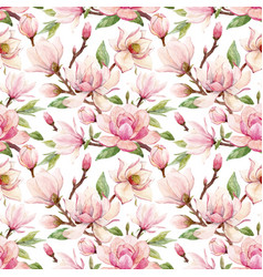 watercolor magnolia floral pattern vector image
