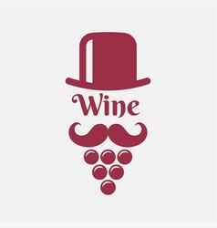 wine logo with man beard - wine grape and hat vector image