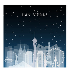 Winter night in las vegas night city vector