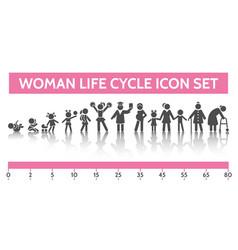 Woman life cycle icons vector