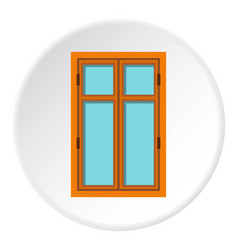 wooden brown window icon circle vector image