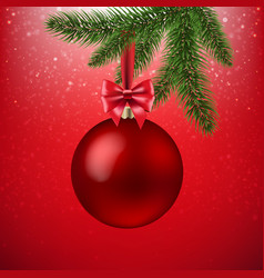 xmas red background with christmas ball and vector image