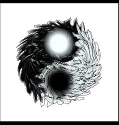 yin and yang feathery mandala isolation for vector image