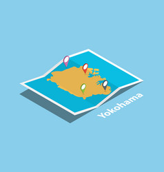 Yokohama japan explore maps with isometric style vector