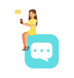 young woman sitting on a big mobile app symbol and vector image