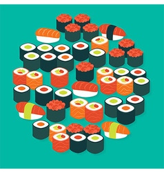 Food Sushi Sashimi and Rolls Flat Design Circle vector image vector image