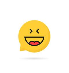 laugh emoji speech bubble logo on white background vector image vector image