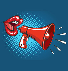 popart girl mouth screaming in megaphone vector image