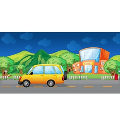 A yellow van at the road vector image vector image