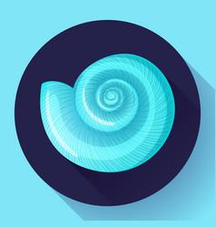 Blue sea shell flat logo seafood flat icon vector