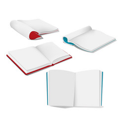book open white mockup set vector image vector image