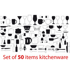 different items kitchenware vector image