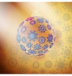 Elegant shiny christmas ball with ribbon vector image