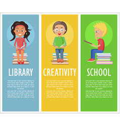 library creativity and school with reading kids vector image