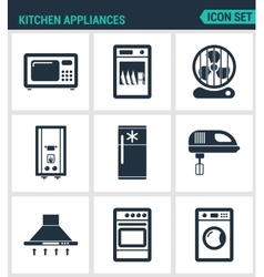 Set modern icons Kitchen appliances vector image vector image