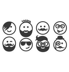 Set of outline hipster emoticons emoji vector image vector image