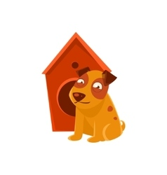 Smiling Puppy Next To Wooden Kennel vector image