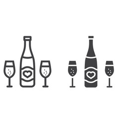 bottle of champagne glasses line and glyph icon vector image vector image