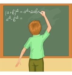 Boy writes on blackboard vector image vector image
