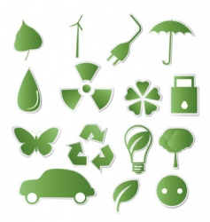 collection of green Eco icons vector image vector image
