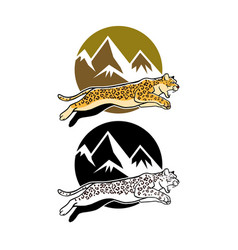 jumping leopard and mountain background vector image