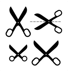 Set of different scissors silhouettes isolated vector