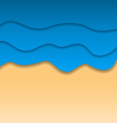 Summertime beach background paper cut style vector image