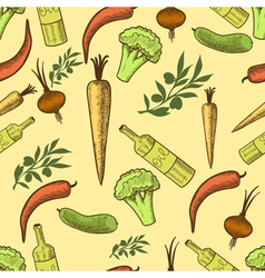 vegetables in retro style seamless pattern vector image