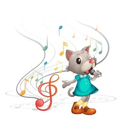 A cat with a microphone vector image vector image