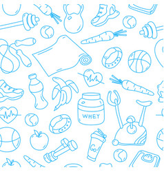 blue seamless pattern with fitness doodles vector image vector image