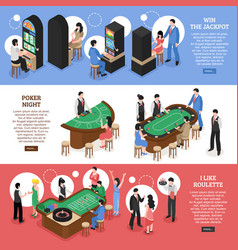 casino isometric horizontal banners vector image vector image
