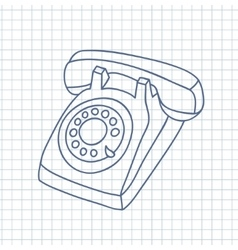 Hand drawn old telephone vector image