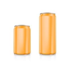 Set of orange blank aluminium cans vector image vector image