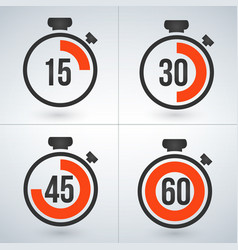 stopwatch set for every 15 minutes isolated on vector image