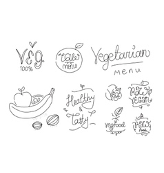 Vegetarian food labels Hand drawn typographic vector image