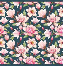 watercolor magnolia floral pattern vector image vector image