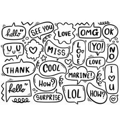 0081 hand drawn background set cute speech vector