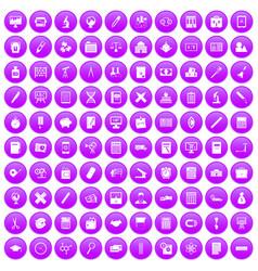 100 calculator icons set purple vector