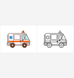 Ambulance car coloring page side view vector