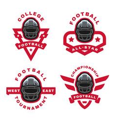 american football set sport logo emblem vector image