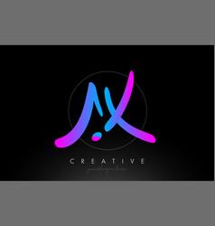 Ax artistic brush letter logo handwritten in vector