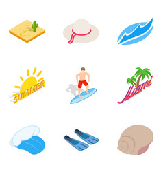 beachfront icons set isometric style vector image
