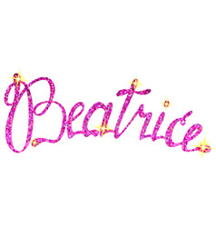 Beatrice name lettering tinsels vector