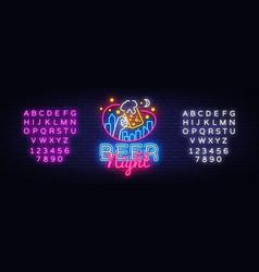 Beer neon sign beer night design template vector
